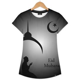 Man praying under the moon- Eid Mubarak