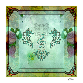 Music, decorative clef with floral elements