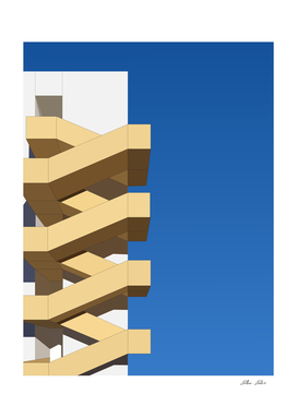 Minimal architecture space fire escape stair