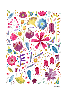 Autumn Hedgerow Flowers Painting