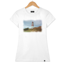 Lighthouse striped on beautiful sea shore