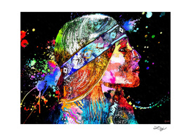 Native American Woman Grunge