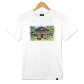 Old wooden house with elevated stabbur / storehouse