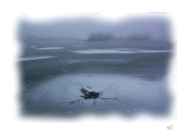 Ice-Hole In Misty Frozen Lake Winter