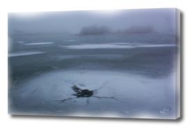 Ice-Hole In Misty Frozen Lake Winter