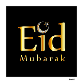 Eid Mubarak with glittering Islamic Star