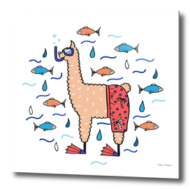 Cute hand-drawn illustration of a lama in the beach shorts