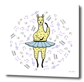 Cute hand-drawn illustration of a lama-ballerina