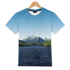 Deep blue mountainous sunset