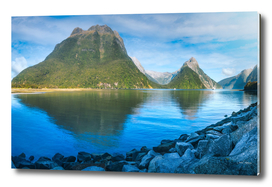Morning at Milford Sound, New Zealand.