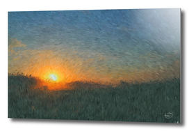 Beautiful sunset in misty foggy field impressionist painting