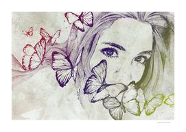 Remain Sedate: Rainbow (butterfly girl street art portrait)