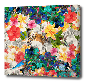 tiger and colorful flowers