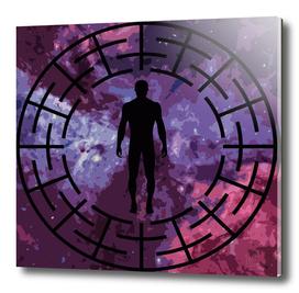 Black labyrinth man silhouette