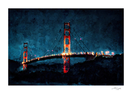 Digital Painting - San Francisco Bridge