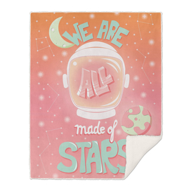 We are all made of stars, typography poster design, pink