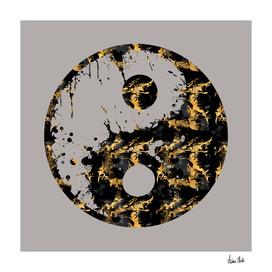 Abstract YIN AND YANG Taijitu Symbol | grey & gold