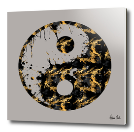 Abstract YIN AND YANG Taijitu Symbol | grey & gold