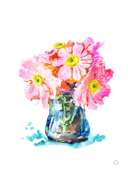 Watercolor Flower Pot