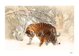 Tiger & Cub In Winter Scene Mural