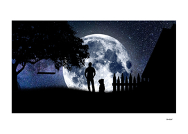 Man and Dog Looking At The Moon