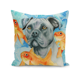 Guardian   Pit Bull Dog and Goldfishes Watercolor Painting