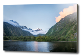 Beautiful sunset color at Harrison Cove in Milford Sound