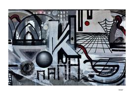 Graffiti On Gray Background