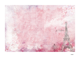 Paris abstract Landscpe On Pink