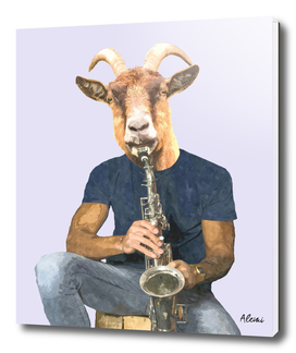 Goat Musician Illustration