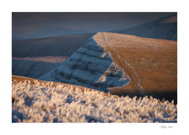 Frost covered Brecon Beacons in South Wales