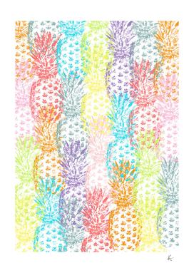 Pineapples Multicolor Watercolor