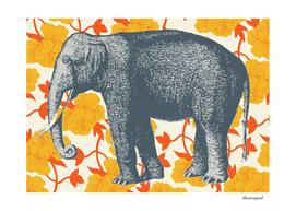 elephant floral yellow