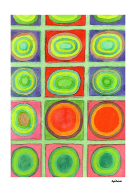 Green Grid filled with Circles and intense Colors
