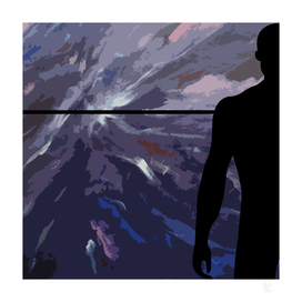 Horizon with black silhouette man