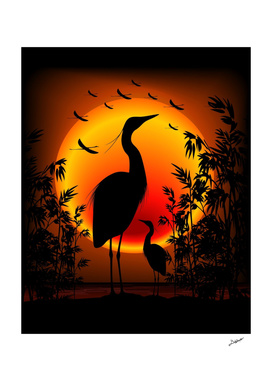 Heron Shape on Exotic Zen Sunset