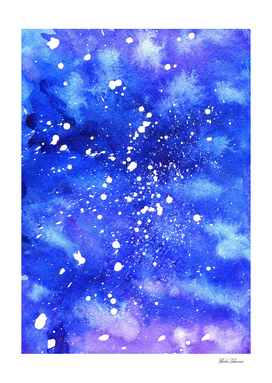 Watercolor Abstract Galaxy. Vertical Edition