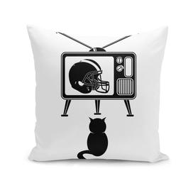 Black Cat Watching TV