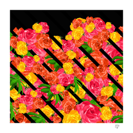 Bold Tropical Spring Floral With Stripes