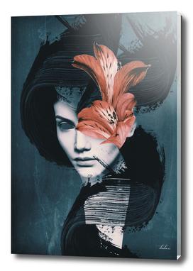 Red Flowers/Lady Portrait