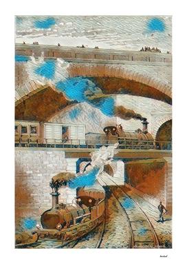 Steam Trains Brown & Blue