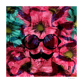 old funny skull art portrait with pink and blue flower