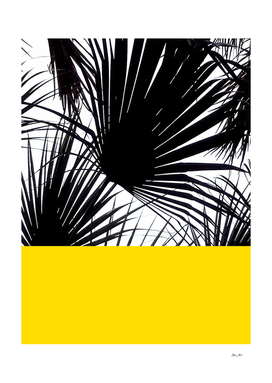 Tropical Black and White Palm Leaves on Yellow
