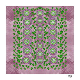 ivy and  holm-oak with fantasy meditative orchid flowers