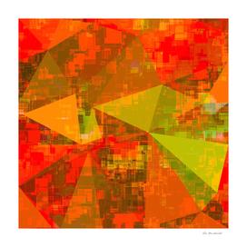geometric triangle polygon pattern abstract in orange green