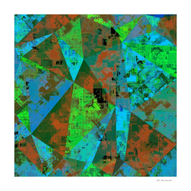 geometric triangle polygon pattern abstract in green blue