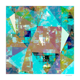 geometric triangle polygon pattern abstract in blue green