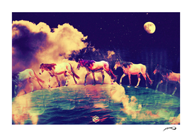 Horses to the moon by #Bizzartino