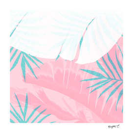 Elegant Palm Trees Pink Foliage Design