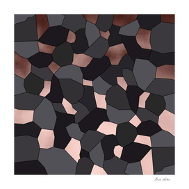 Rose gold, grey and black mosaic